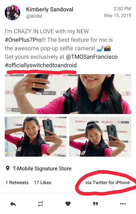 Tweet promoting the OnePlus 7 Pro from an influencer who officially switched to Android was made using an Apple iPhone - T-Mobile promotes the OnePlus 7 Pro using an Apple iPhone