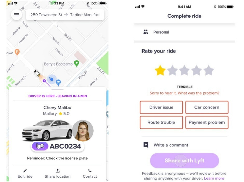 Increased license plate visibility (left), mandatory secondary feedback (right) - Lyft is vastly improving rider safety with in-app emergency assistance and more