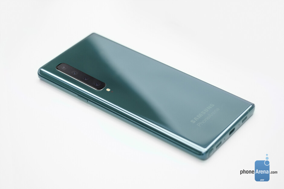 Samsung Galaxy Note 10 with a vertical camera setup pictured in new design renders