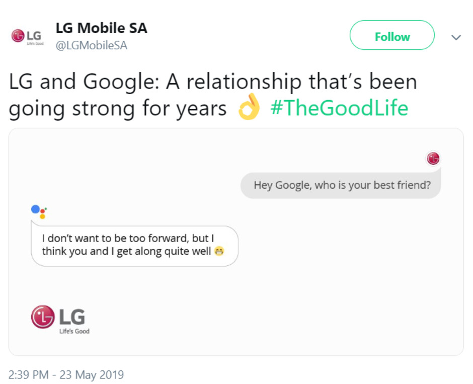LG may have just trolled Huawei and its US ban on Twitter