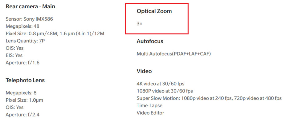 OnePlus website still claims that the OnePlus 7 Pro has 3x optical zoom - OnePlus walks back an important claim about a OnePlus 7 Pro feature