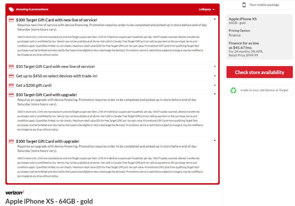 $350 gift card iPhone XS Gold Target deal - Verizon and AT&T iPhone XS comes with a $350 Target gift card deal