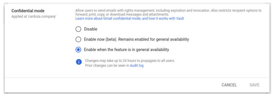 Confidential mode settings - Google to roll out Gmail confidential mode to everyone in June