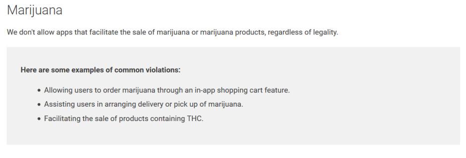 Google's new policy on marijuana apps - Google just says no to marijuana apps