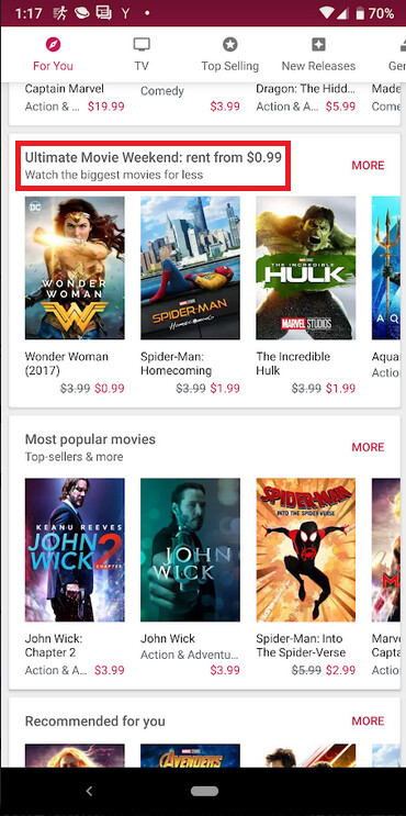 """Movie rentals start at 99 cents in the Google Play Store for the Ultimate Movie Weekend - It's the """"Ultimate Movie Weekend"""" which means rentals start at 99 cents in the Google Play Store"""