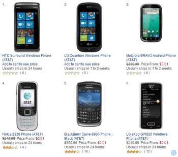 All AT&T phones on Amazon's lineup is priced at $0.01 until Monday.