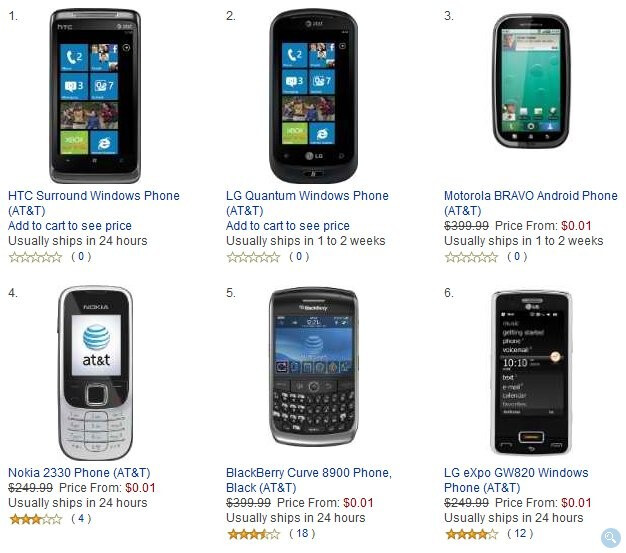 All AT&T phones on Amazon's lineup is priced at $0.01 until Monday. - AT&T phones on Amazon are now all available for a penny until Monday