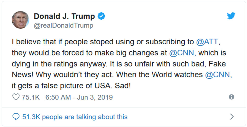 President Donald Trump wants Americans to boycott AT&T - The reason why Trump is demanding that Americans boycott AT&T is ridiculous
