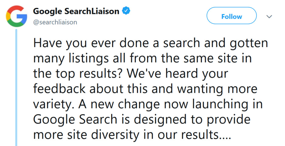 Google announces its diversity update for Google Search - Google Search results are improved in response to user feedback