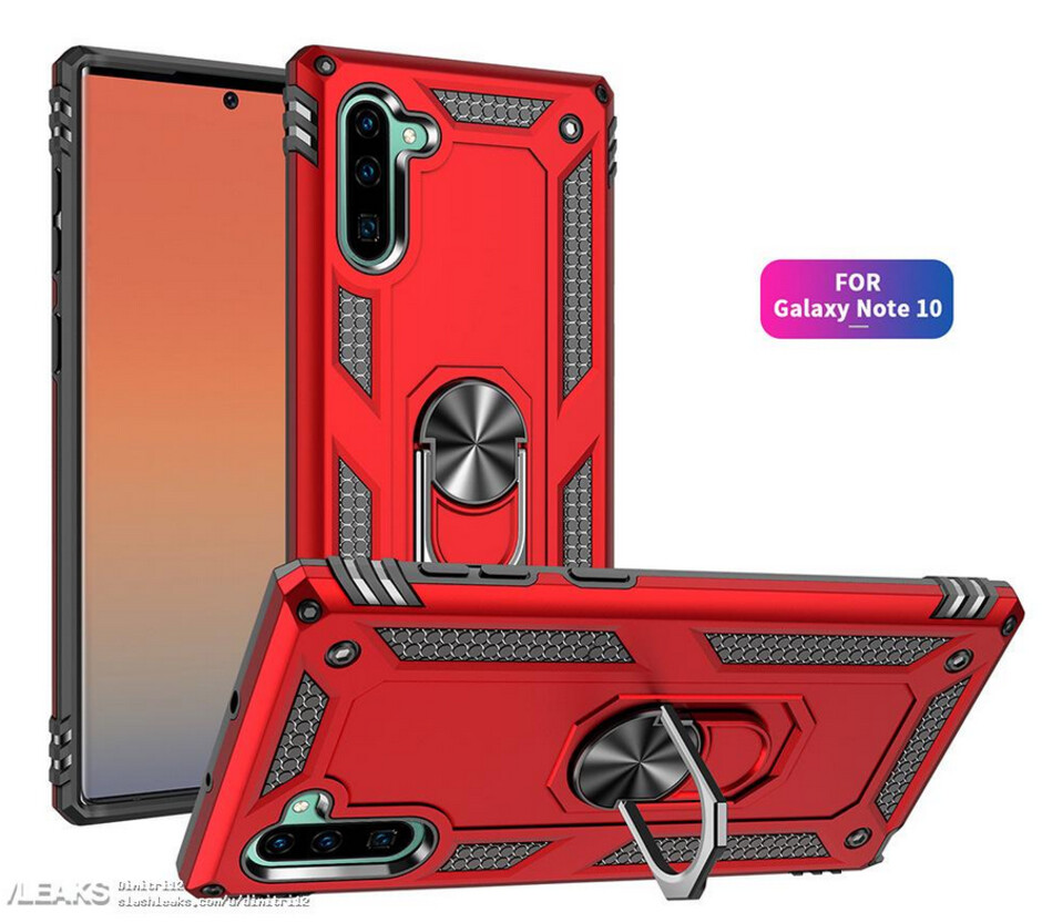 """Alleged case render for the Samsung Galaxy Note 10 - Samsung Galaxy Note 10 case renders """"confirm"""" new placements for the cameras in back and front"""