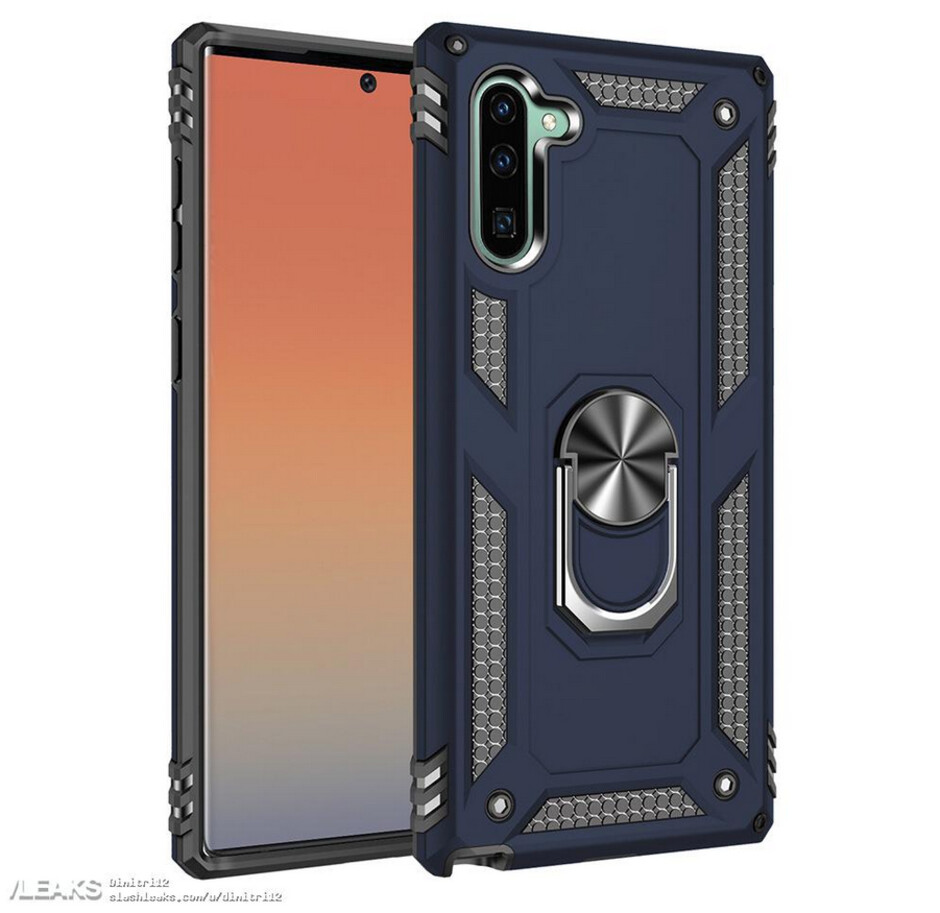 """Same case for the Galaxy Note 10 in Blue - Samsung Galaxy Note 10 case renders """"confirm"""" new placements for the cameras in back and front"""