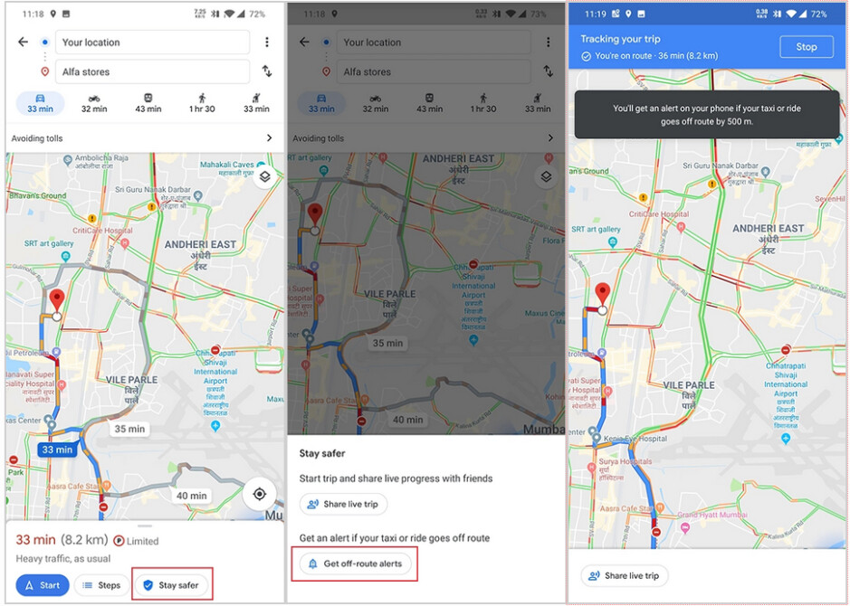 Google is testing a feature for Google Maps that warns you when your taxi driver is off course - Google testing new Maps feature that can save you money or even your life