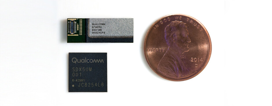 The Qualcomm Snapdragon X50 modem below and a single 5G antenna next to a penny - How long before 5G becomes a standard flagship smartphone feature?