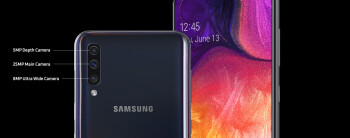 The Samsung Galaxy A50 sports a triple camera setup in the back