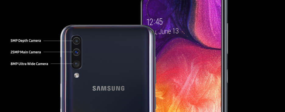 The Samsung Galaxy A50 sports a triple camera setup in the back - Samsung's well spec'd Galaxy A50 mid-ranger hits Verizon on June 13th