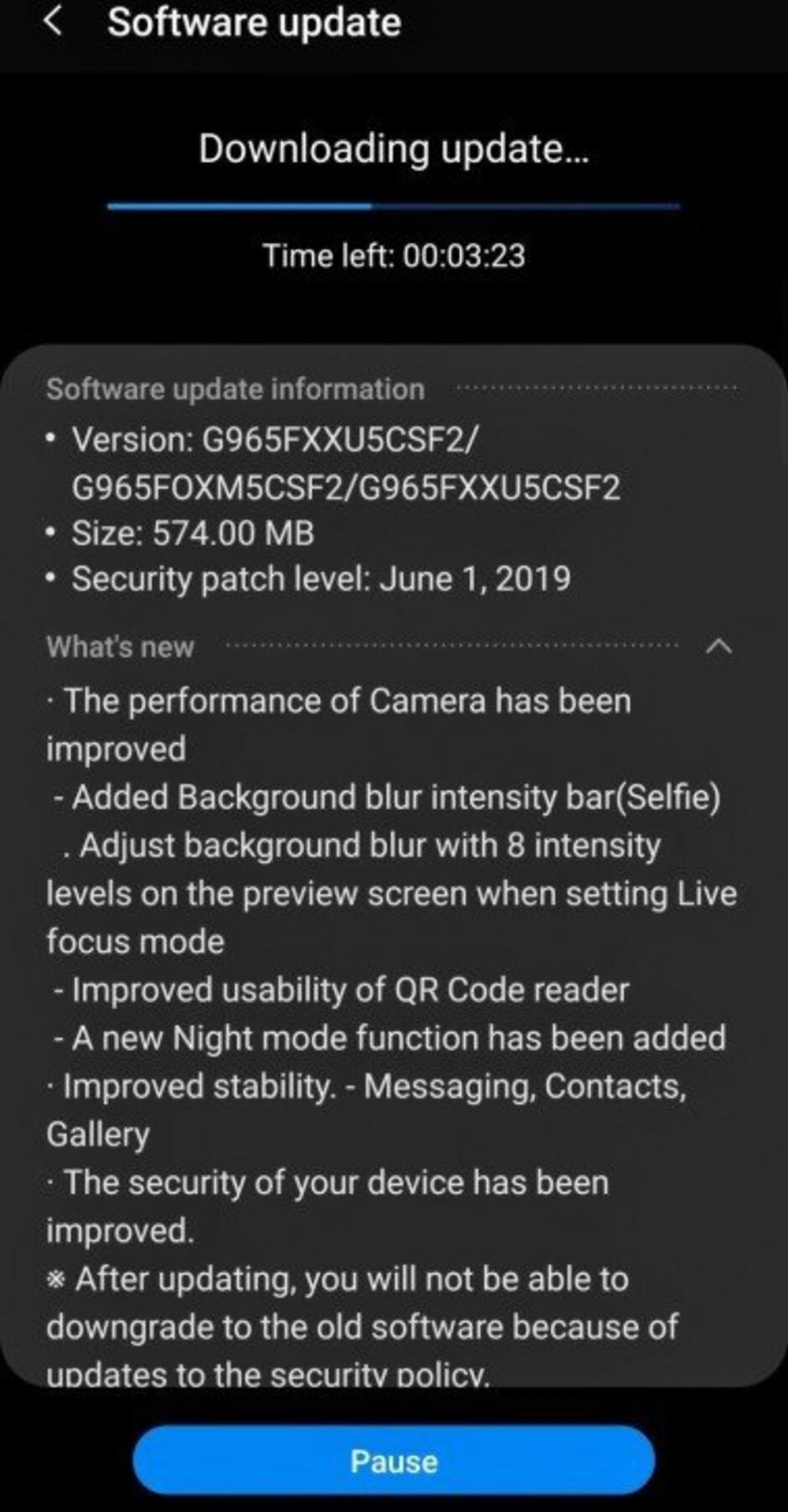Samsung Galaxy S9 and S9+ update adds Night Mode function, other improvements