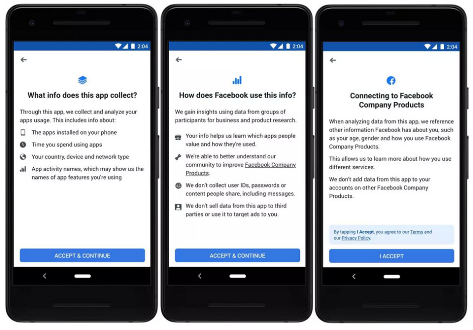 Information gathered by the app is not sold to third parties and is not used to target ads - Facebook's Study program pays for information about the apps you use