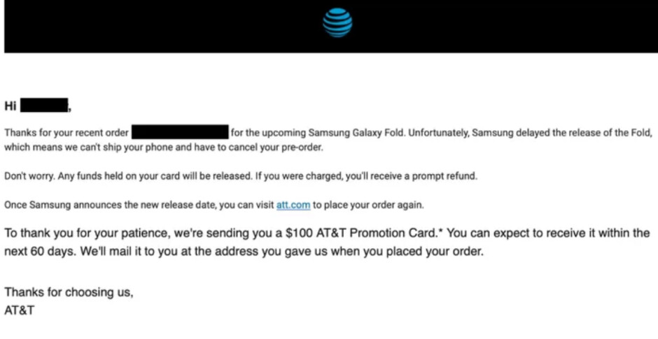 AT&T alerts its customers that it has canceled their pre-orders for the Samsung Galaxy Fold - AT&T cancels its Samsung Galaxy Fold pre-orders; customers involved get a $100 promo card
