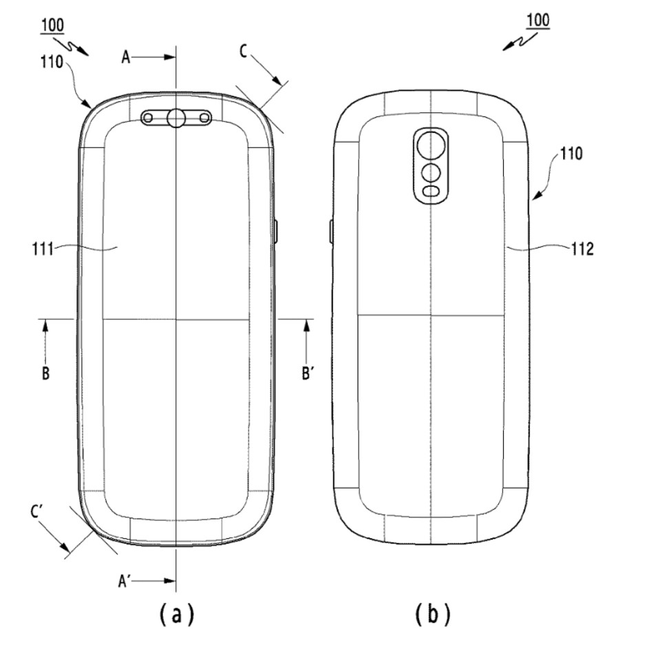 Illustration from Samsung's patent - Samsung patent reveals a radical new look that could be used for the Galaxy S11