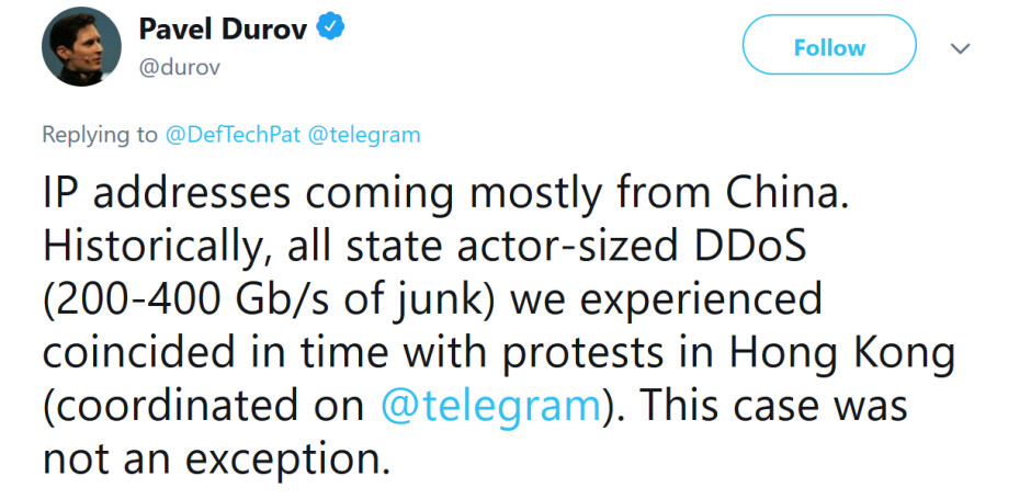 Telegram CEO Durov says China was the source of a cyber attack against the app - Telegram CEO blames China for cyber attack that made the app unusable