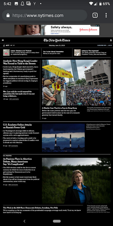 New York Times website in dark mode on Chrome - Google Chrome beta app for Android is updated with a battery saving feature