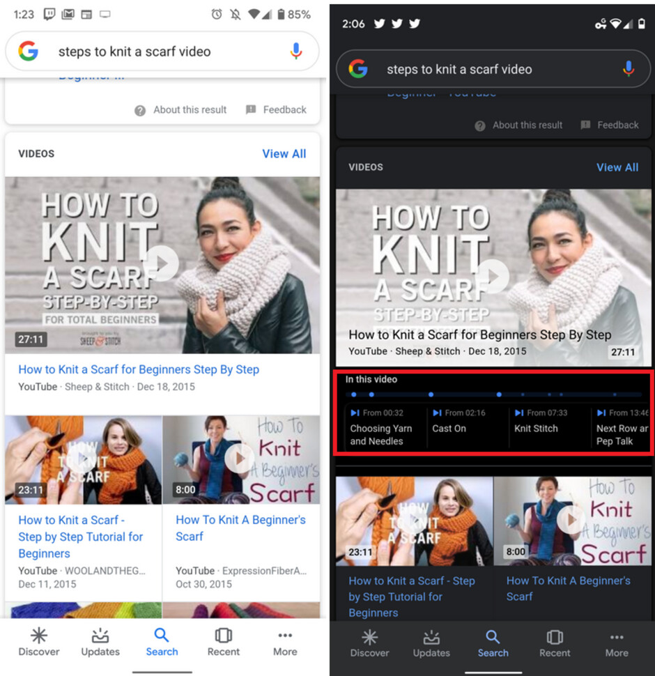 The results at right include the 'In this video' timeline - Update adds cool new feature for some YouTube videos on Google Search