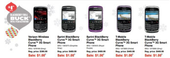 All versions of the BlackBerry Curve 3G are on sale for $1 with a contract.