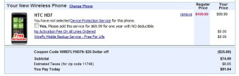 Wirefly is selling the HTC HD7 for $74.99 with a contract.