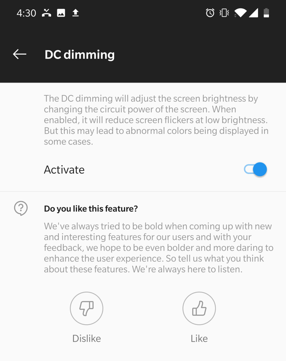 DC Dimming fixes the flickering problem that might affect some users - Is the OnePlus 7 Pro display hurting your eyes? You're not the only one (but there is a fix!)