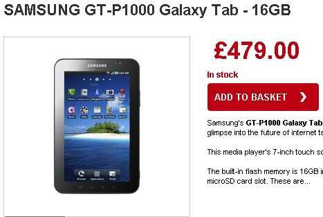 Samsung Galaxy Tab is now priced at £479 in the UK. - Samsung Galaxy Tab drops in price to £479 in the UK
