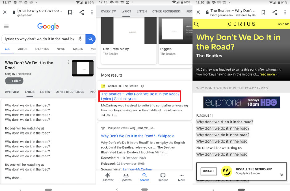 """Lyrics found on Google Search at left, and on Genius' site at right - Media company used an ingenious method to catch Google copying its work """"red-handed"""""""