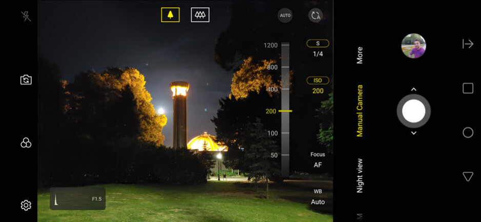 The LG G8's manual camera controls let you increase the shutter speed and increase the ISO to collect more light at night - Be a social media star with the LG G8's powerful camera tools