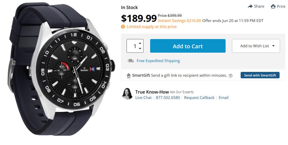 The hybrid LG Watch W7 is on sale at B&H - Deal: B&H has the hybrid LG Watch G7 for $190, a 53% or $210 discount