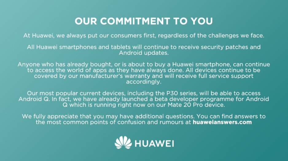 Huawei tries to clear up some confusion about whether some of its current models will receive Android Q - Huawei responds to rumors, says P30 line and Mate 20 Pro will be updated to Android Q