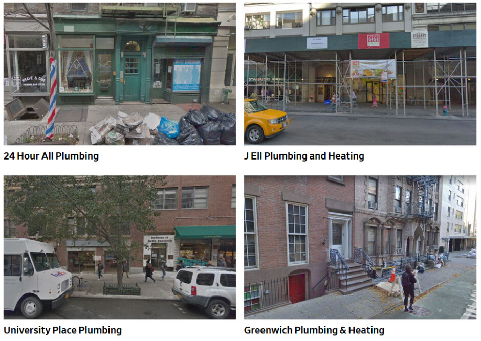 Using Google Street View, the Journal found that many of the addresses listed on a search result for plumbers were not legitimate - Using Google Maps to find a local business could drain your bank account...or worse
