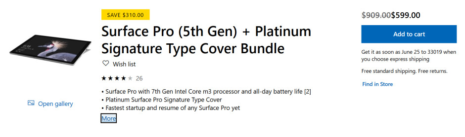 Save over $300 on a Surface Pro 5 bundle - Save $310 on a Surface Pro 5 bundle that includes a Signature Type Cover