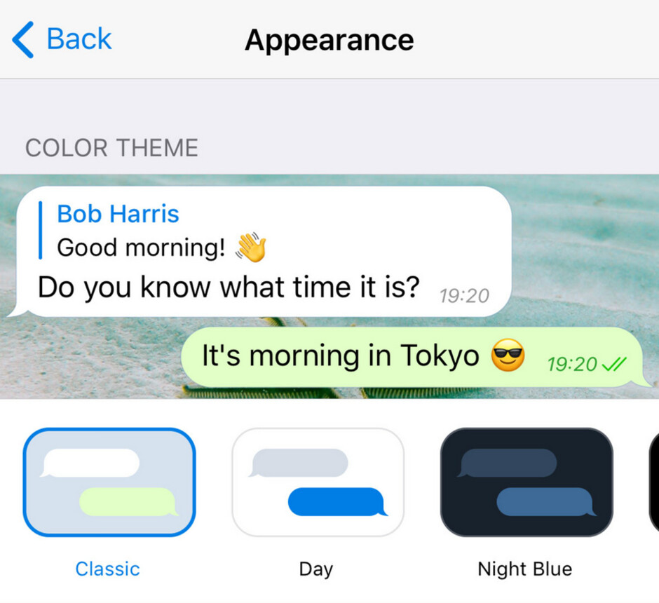 Telegram users with an iOS device can see what a theme will look like before a change is made - Telegram update adds location-based chats and much more
