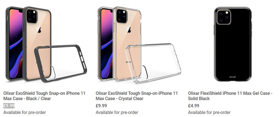 Three of the case renders produced by Olixar for the Apple iPhone 11 Max - Case renders for Apple iPhone 11 Max show that Apple might have made an important decision