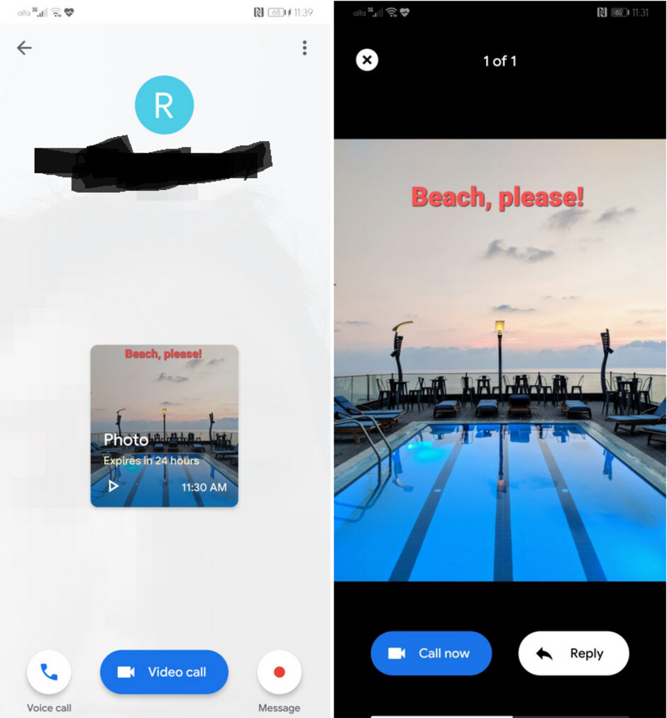 Recipients will see a thumbnail that they can tap to expand and have the option of quickly responding to the sender - Update allows you to share self-destructing images through the Google Duo app
