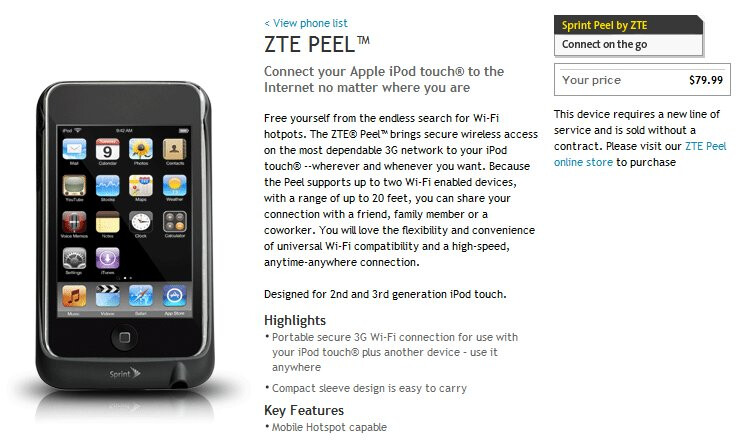 ZTE Peel is now available for purchase through Sprint's web site for $79.99. - Sprint's ZTE Peel makes its mark for all iPod Touch owners at $79.99