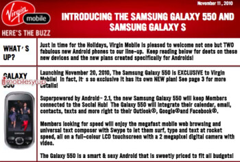 Samsung Galaxy 550 coming to Virgin Mobile