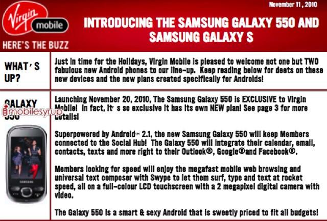 Samsung Galaxy 550 coming to Virgin Mobile