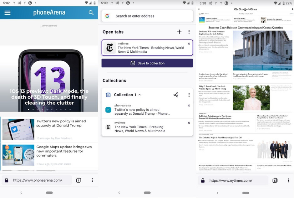Screenshots from Firefox Preview, available in the Google Play Store - Preview of Firefox's new Android browser available in Google Play Store