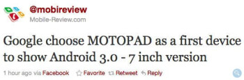 Tweet indicating that Google and Motorola are partnering together for an Android 3.0 tablet.