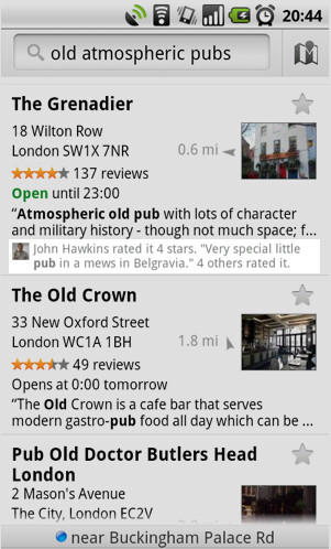 Google Maps 4.7 includes new Google Hotpot which allows you to rate certain places