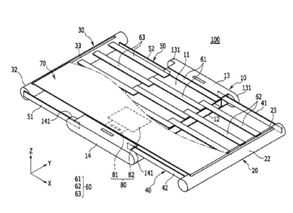 An image from Samsung's patent for a foldable phone using a rollable display - Hot rumor has Sony prepping a foldable phone with a retractable rolling display