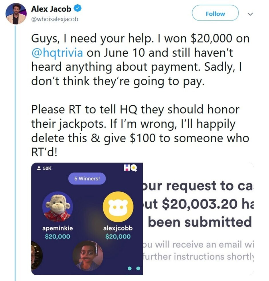 Jeopardy champ Jacob says he's been stiffed by HQ Trivia - Former Jeopardy champ claims that he's been stiffed by HQ Trivia after winning $20,000