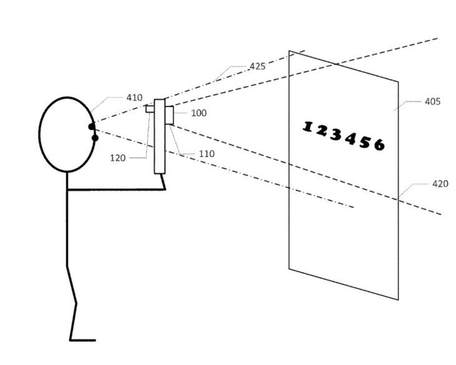 Illustration from Apple's patent; the technology should work with the company's AR smartglasses - Apple's new patent shows how its AR glasses could help those with impaired vision see again