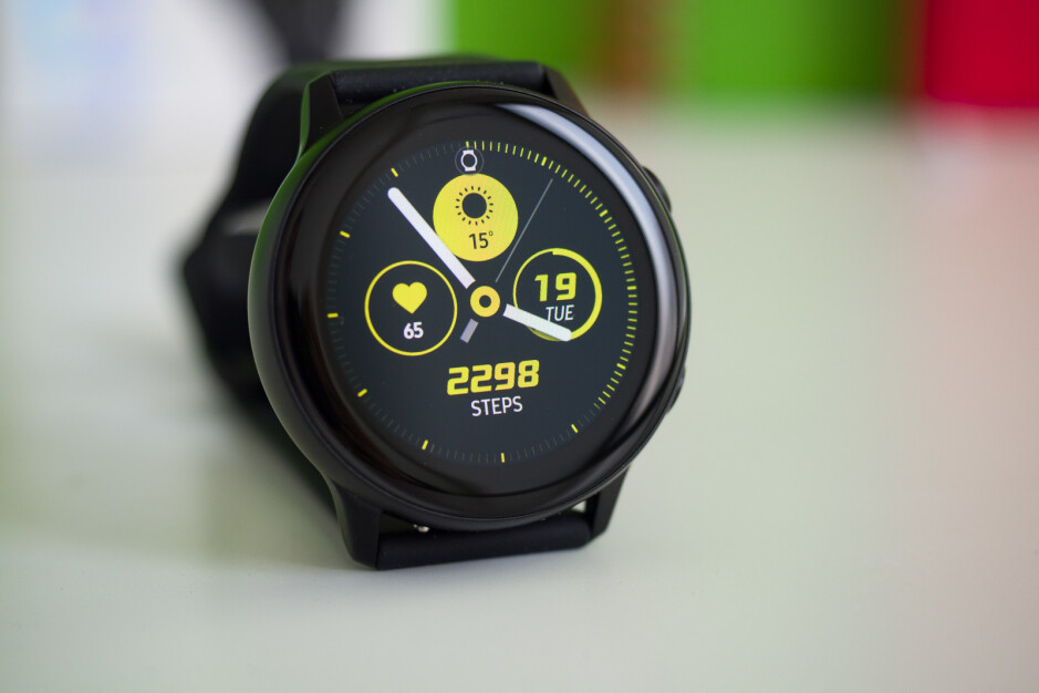 The original Galaxy Watch Active - Samsung Galaxy Watch Active 2 render shows leather band, accented power key