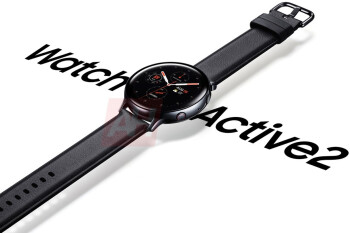 Samsung Galaxy Watch Active 2 render shows leather band, accented power key